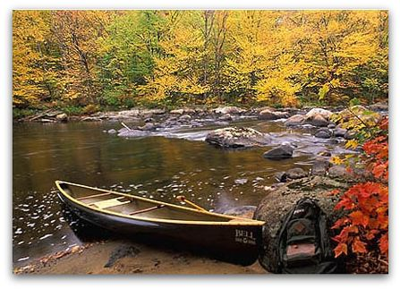 Canoe on river.
